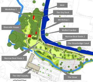 Contemporary plan of the Riverside site. © Copyright Taylor Wimpy (W. Mids) and BEA Landscape Design Ltd.